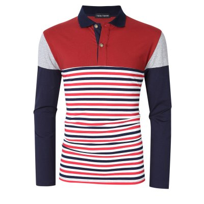 Men's Striped Slim Fit Long Sleeve Polo Shirt