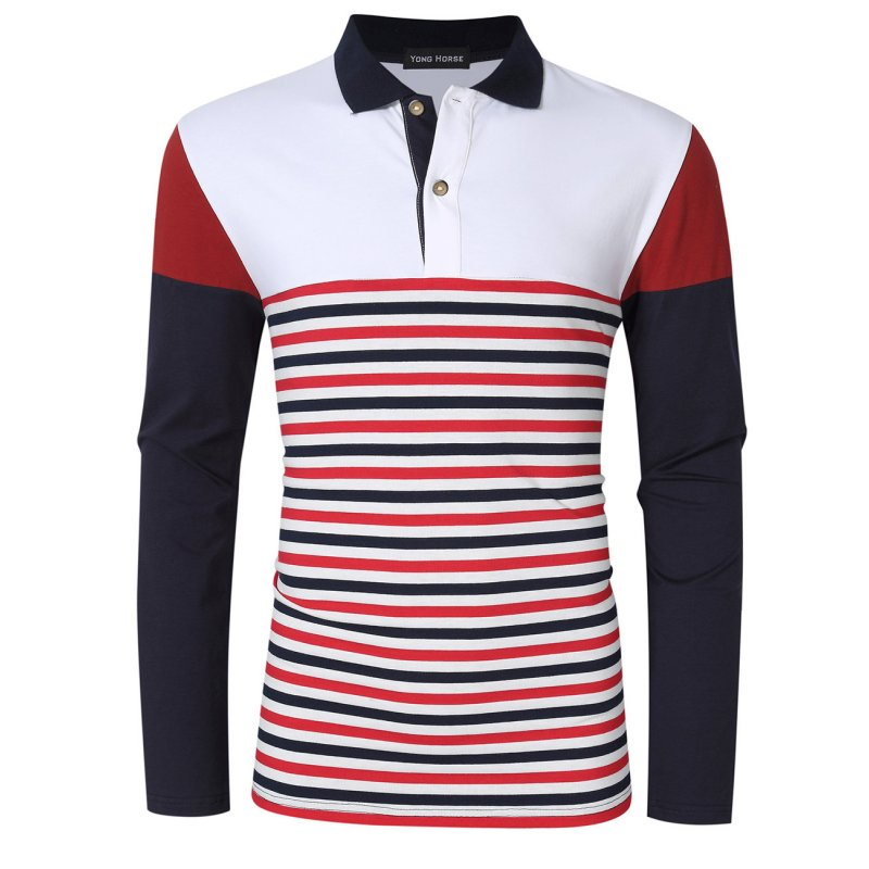 Yong Horse Men's Fit Long Sleeve Polo Shirt