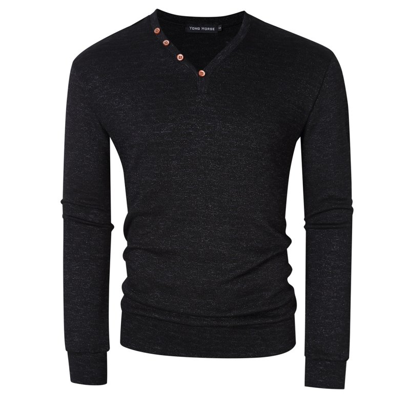Yong Horse Men's V Neck Henley Shirt