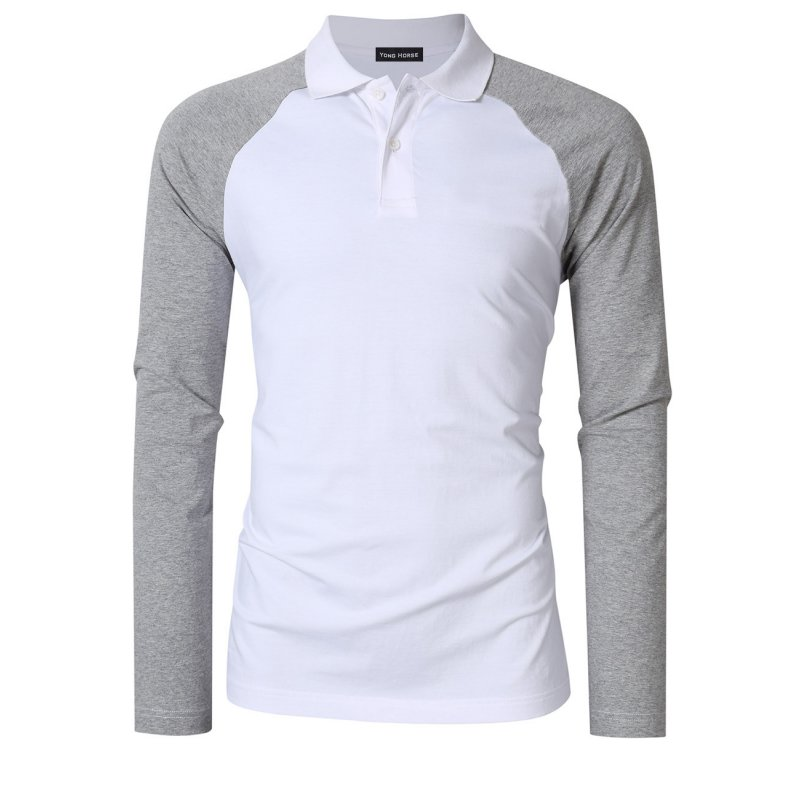 [US Direct] Yong Horse Men's Two Tone Color Blocked Modern Fit Long Sleeve Polo Shirt White with gray sleeves_2XL