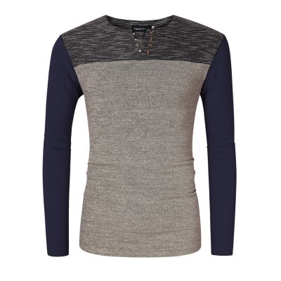 Mens Contrast Color Henley Neck T-Shirt