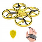 ZF04 RC Drone Mini Infrared Induction Hand Control Drone Altitude Hold 2 Controllers Quadcopter for Kids Toy Gift yellow