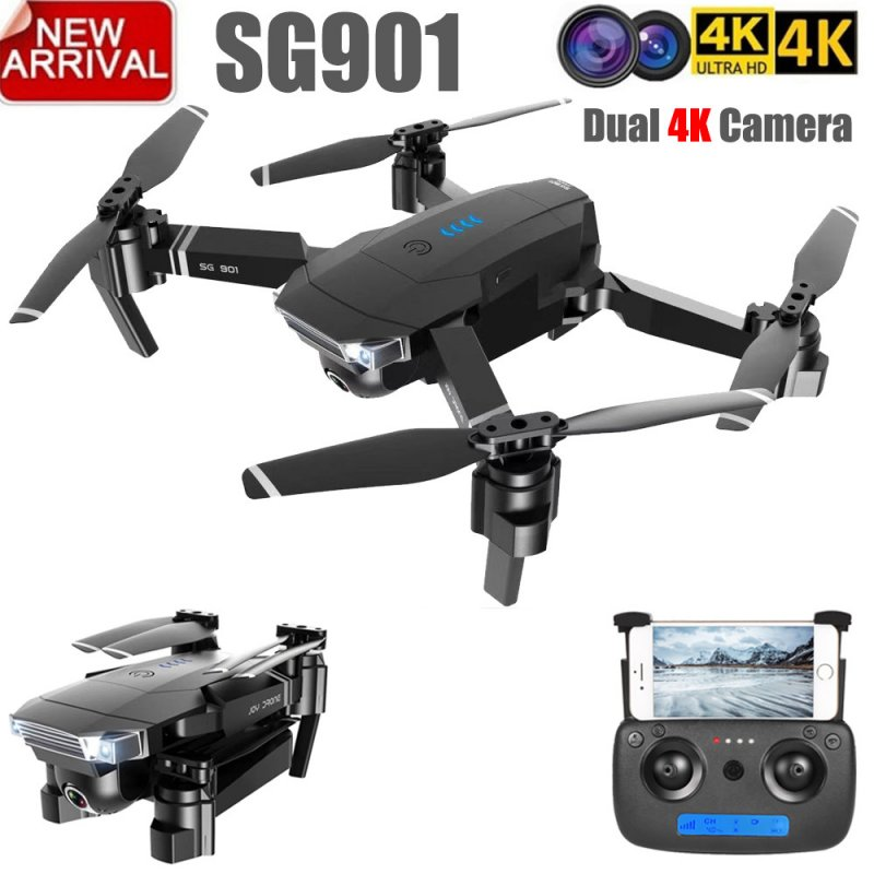 ZLL 2019New SG901 Camera Drone 4K HD Dual Camera Drones Follow Me Quadcopter FPV Profissional Professional GPS Long Battery Life 1080P 1 battery