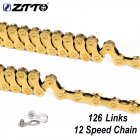 ZTTO MTB 12 Speed Chain Gold 12s Eagle Golden 12speed Chain with Magic Link 126L links For Bicycle bike 12-speed gold chain