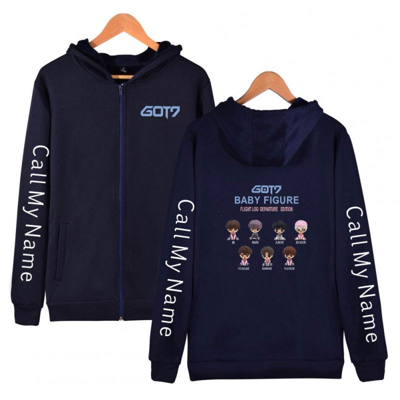 Zippered Casual Hoodie with Cartoon GOT7 Pattern Printed Leisure Top Cardigan for Man and Woman Navy B_M