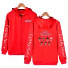 Zippered Casual Hoodie with Cartoon GOT7 Pattern Printed Leisure Top Cardigan for Man and Woman Red B_XL