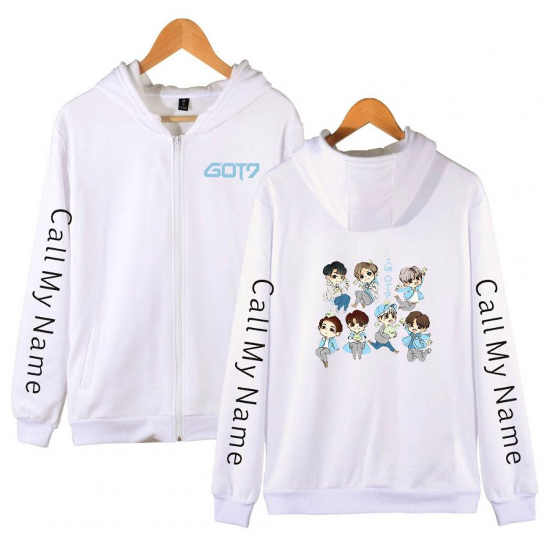Zippered Casual Hoodie with Cartoon GOT7 Pattern Printed Leisure Top Cardigan for Man and Woman White C_XL