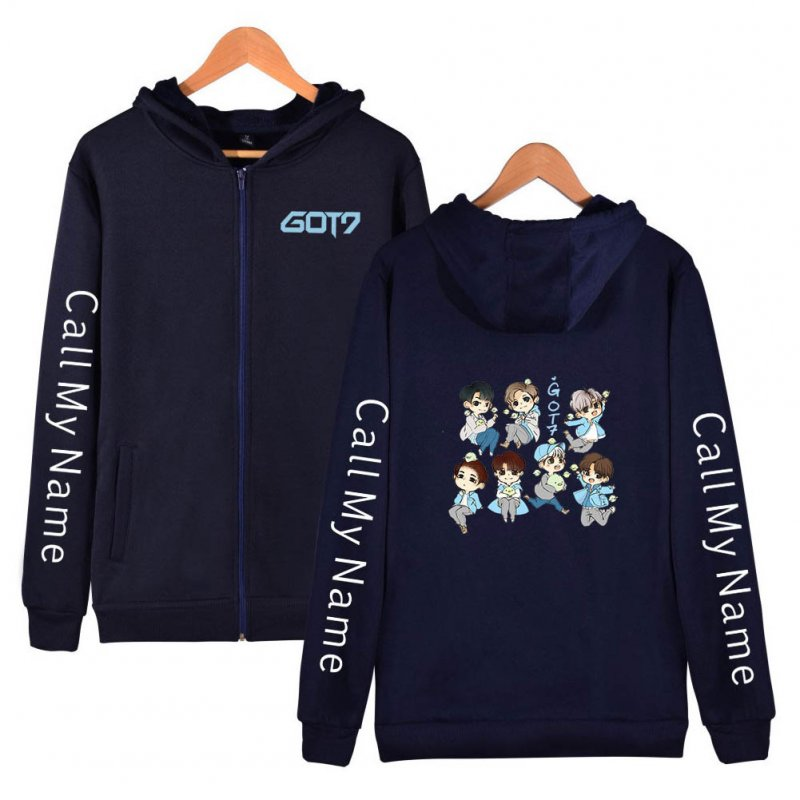 Zippered Casual Hoodie with Cartoon GOT7 Pattern Printed Leisure Top Cardigan for Man and Woman Navy C_M