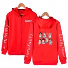 Zippered Casual Hoodie with Cartoon GOT7 Pattern Printed Leisure Top Cardigan for Man and Woman Red C_XXL
