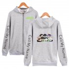 Zippered Casual Hoodie with Cartoon GOT7 Pattern Printed Leisure Top Cardigan for Man and Woman Gray D_L