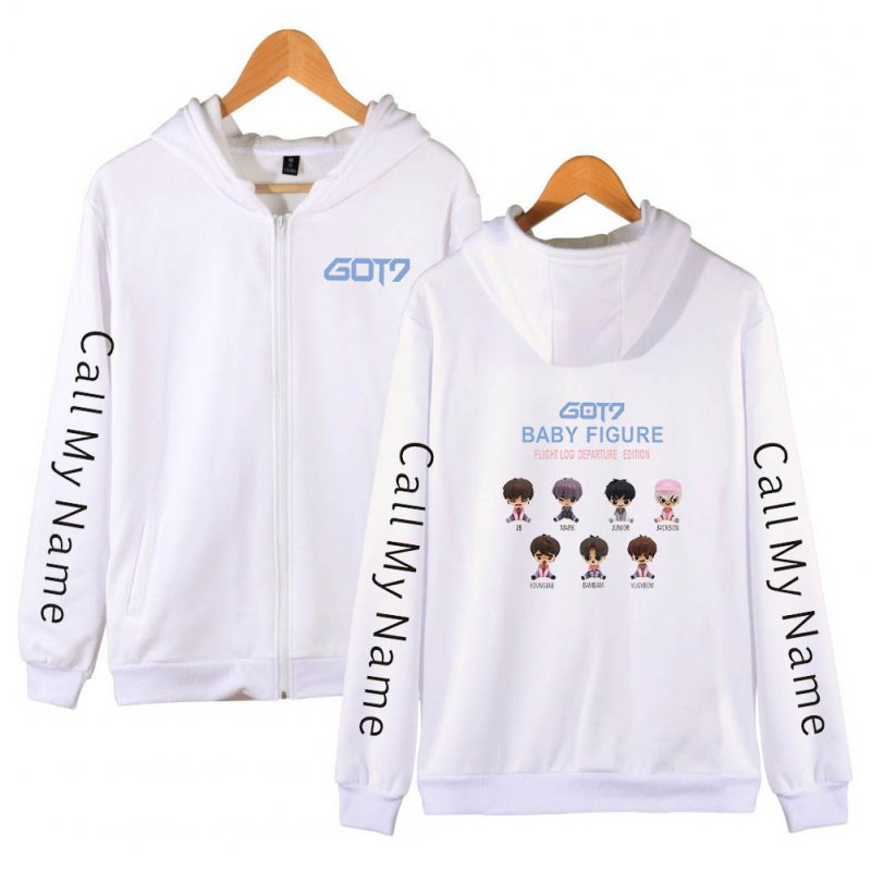 Zippered Casual Hoodie with Cartoon GOT7 Pattern Printed Leisure Top Cardigan for Man and Woman White B_M