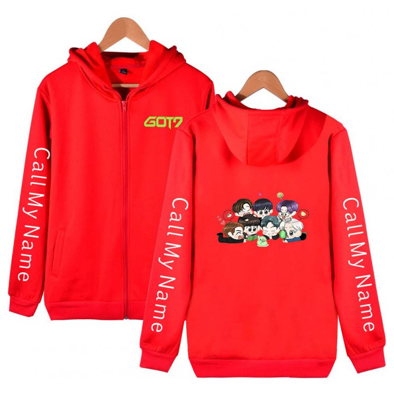 Zippered Casual Hoodie with Cartoon GOT7 Pattern Printed Leisure Top Cardigan for Man and Woman Red D_L
