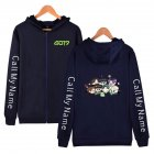 Zippered Casual Hoodie with Cartoon GOT7 Pattern Printed Leisure Top Cardigan for Man and Woman Navy blue D_XXL