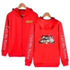 Zippered Casual Hoodie with Cartoon GOT7 Pattern Printed Leisure Top Cardigan for Man and Woman Red D_M