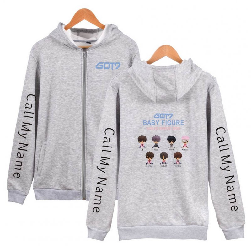 Zippered Casual Hoodie with Cartoon GOT7 Pattern Printed Leisure Top Cardigan for Man and Woman Gray B_L