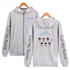 Zippered Casual Hoodie with Cartoon GOT7 Pattern Printed Leisure Top Cardigan for Man and Woman Gray B_XL