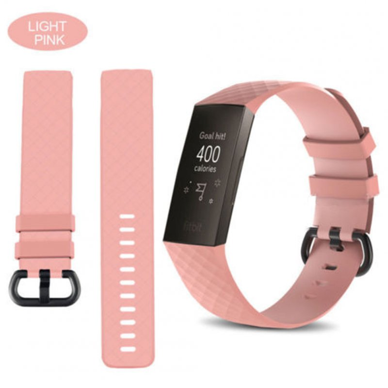 for Fitbit Charge 3 Replacement Band Silicone Strap Sports Wristband light pink_large