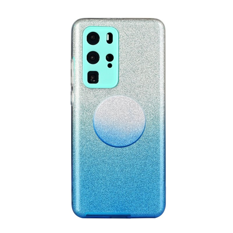 for HUAWEI P20 LITE/P30 LITE/P40 LITE/Nova6SE/Nova 7i Phone Case Gradient Color Glitter Powder Phone Cover with Airbag Bracket blue