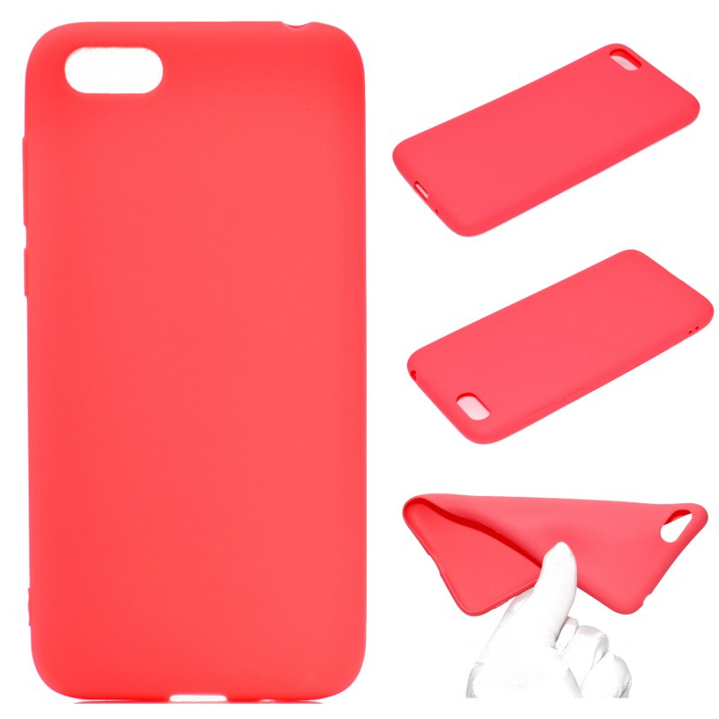 for HUAWEI Y5 2018 Cute Candy Color Matte TPU Anti-scratch Non-slip Protective Cover Back Case red