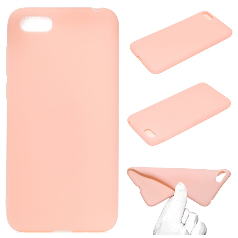 for HUAWEI Y5 2018 Cute Candy Color Matte TPU Anti-scratch Non-slip Protective Cover Back Case Light pink
