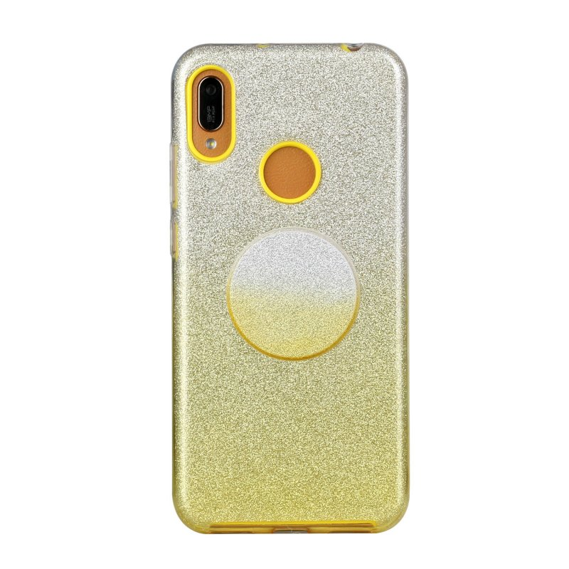 for HUAWEI Y5 2019/HONOR 8S/Y5/PSmart/honor 10 LITE Phone Case Gradient Color Glitter Powder Phone Cover with Airbag Bracket yellow
