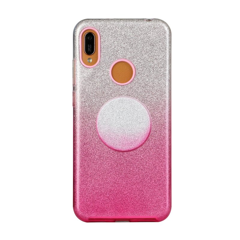 for HUAWEI Y5 2019/HONOR 8S/Y5/PSmart/honor 10 LITE Phone Case Gradient Color Glitter Powder Phone Cover with Airbag Bracket Pink