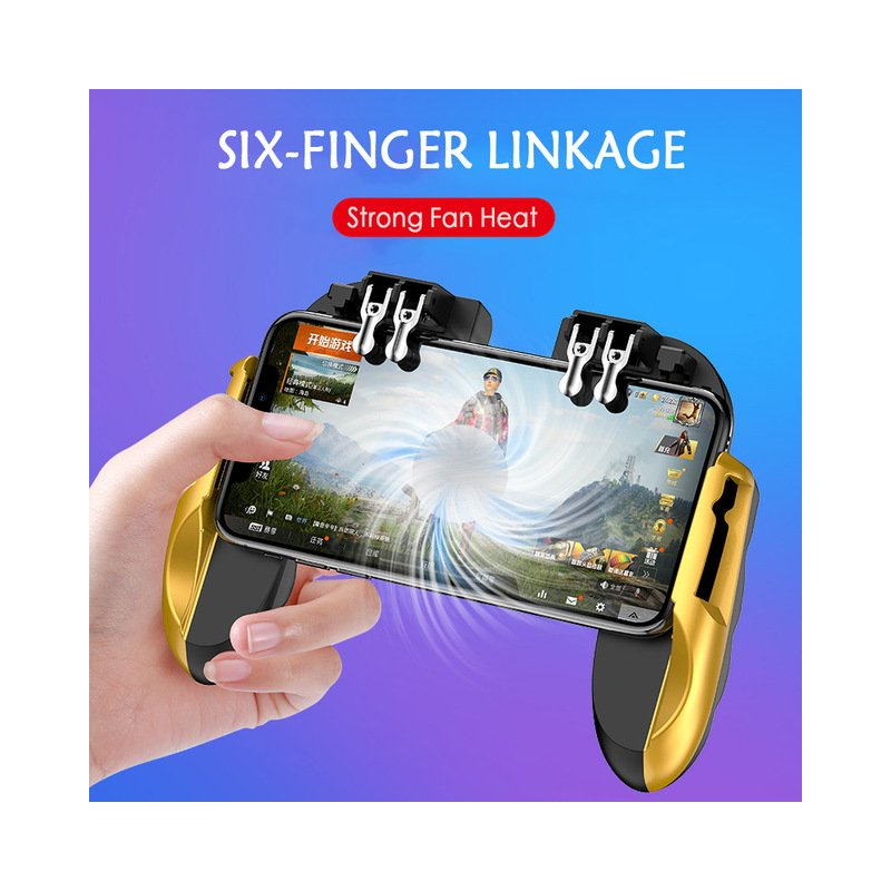 for PUBG Mobile Game Controller Trigger Fire Button Six Finger with Cooler Holder for iPhone Android Smart Phone Gold