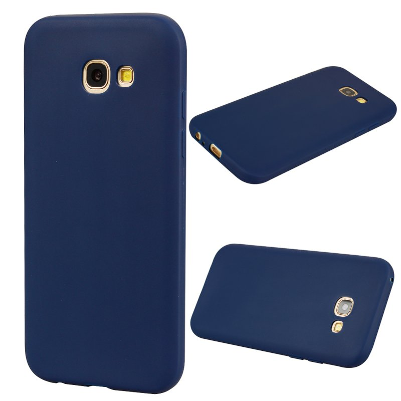 for Samsung A5 2017 Cute Candy Color Matte TPU Anti-scratch Non-slip Protective Cover Back Case Navy