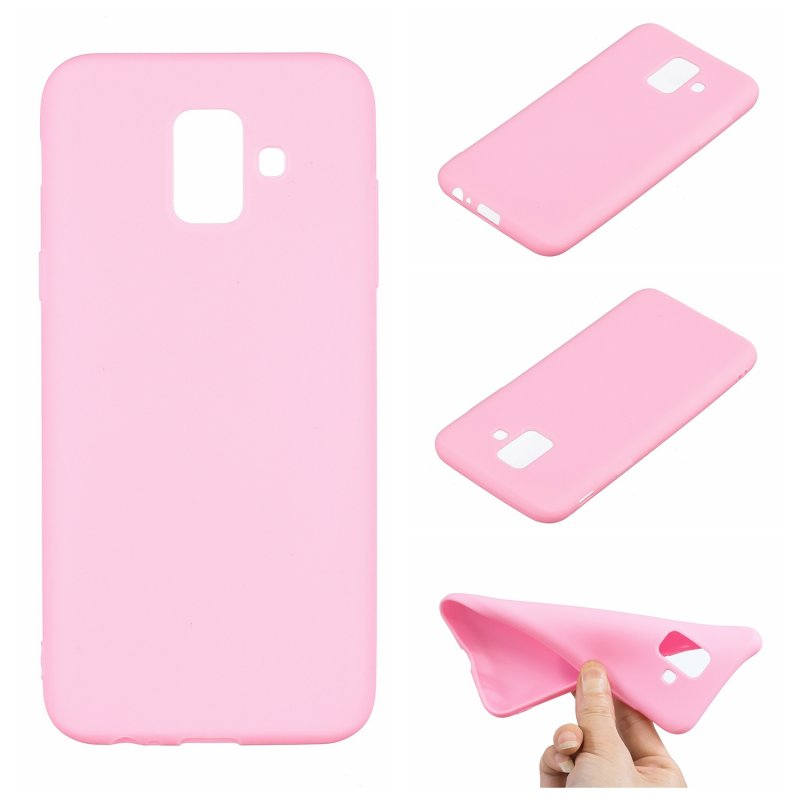 for Samsung A6 2018 Lovely Candy Color Matte TPU Anti-scratch Non-slip Protective Cover Back Case dark pink