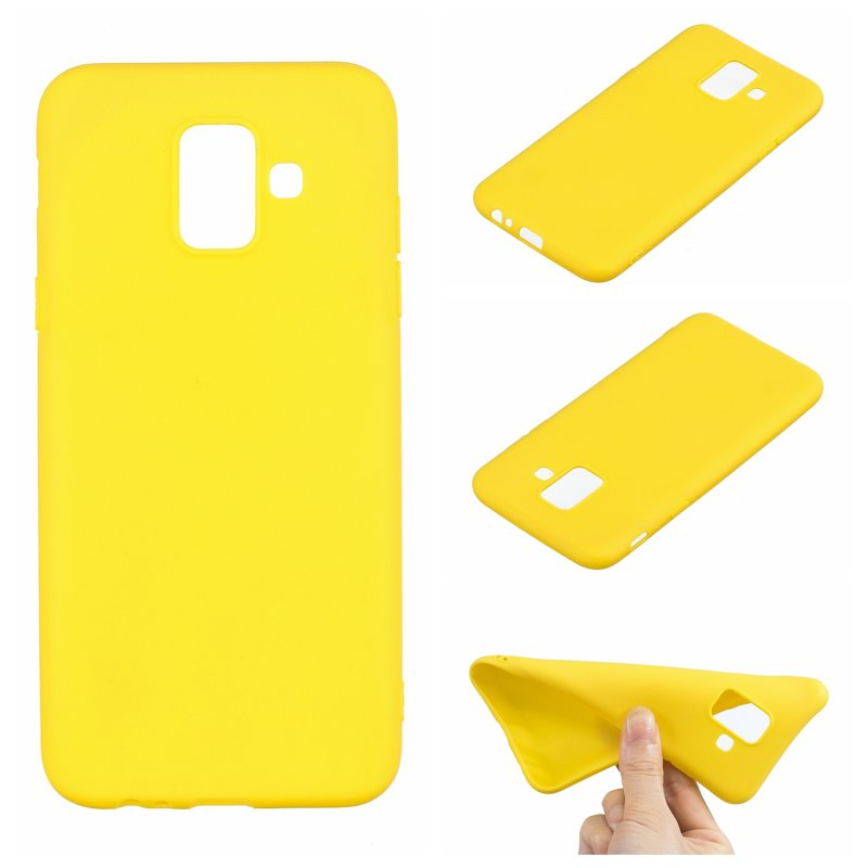 for Samsung A6 2018 Lovely Candy Color Matte TPU Anti-scratch Non-slip Protective Cover Back Case yellow