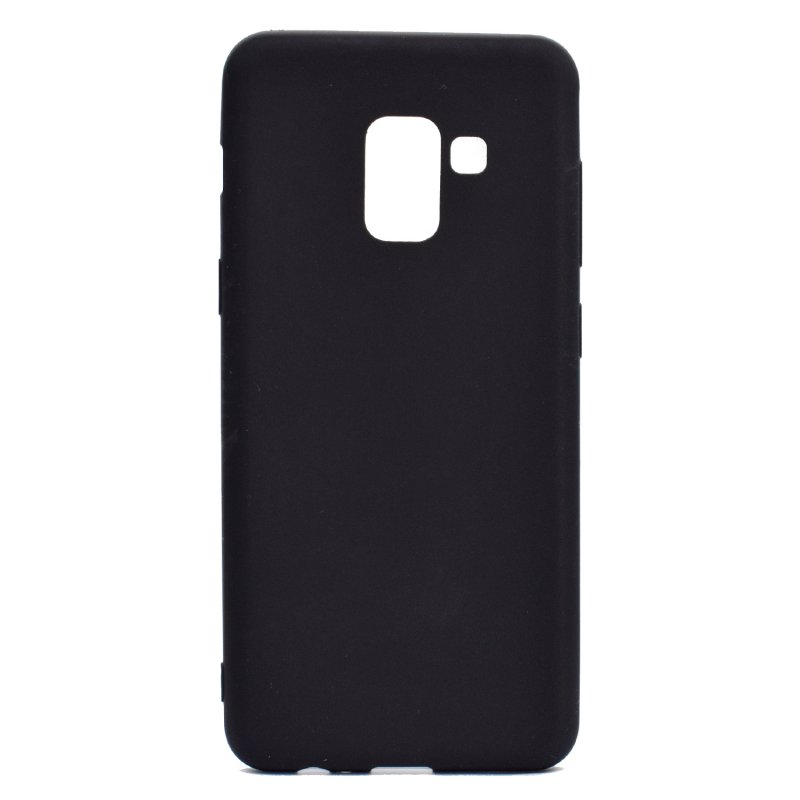 for Samsung A8 2018 Lovely Candy Color Matte TPU Anti-scratch Non-slip Protective Cover Back Case black