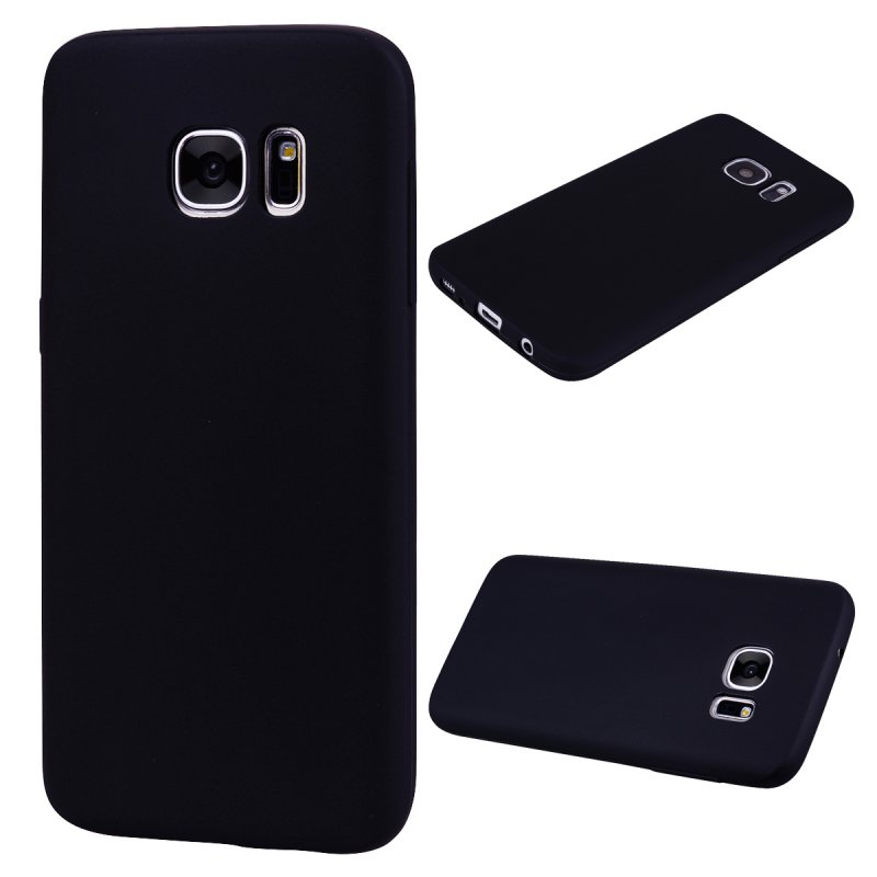 for Samsung S7 Cute Candy Color Matte TPU Anti-scratch Non-slip Protective Cover Back Case black