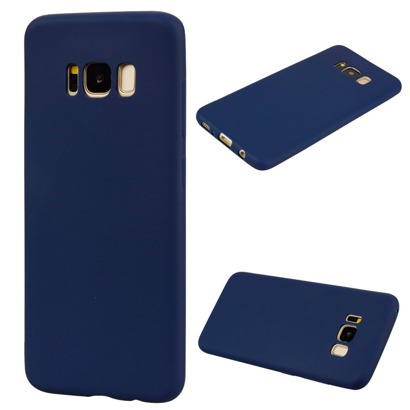 for Samsung S8 Lovely Candy Color Matte TPU Anti-scratch Non-slip Protective Cover Back Case Navy