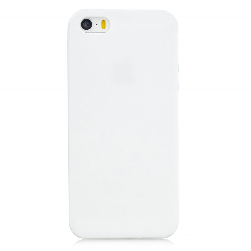 for iPhone 5/5S/SE Lovely Candy Color Matte TPU Anti-scratch Non-slip Protective Cover Back Case white