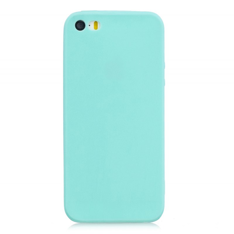 for iPhone 5/5S/SE Lovely Candy Color Matte TPU Anti-scratch Non-slip Protective Cover Back Case Light blue