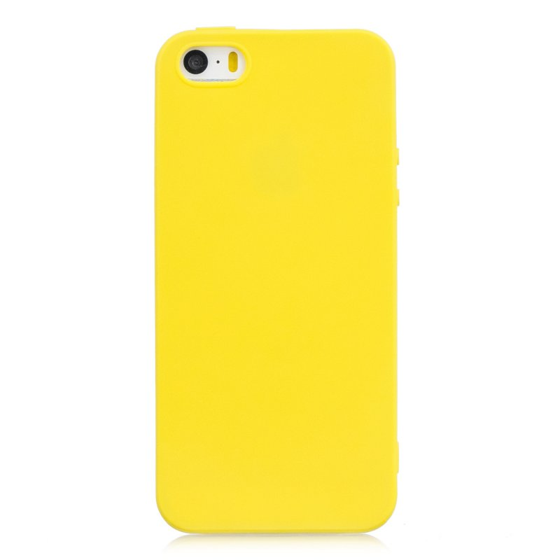 for iPhone 5/5S/SE Lovely Candy Color Matte TPU Anti-scratch Non-slip Protective Cover Back Case yellow