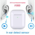 i1000 TWS In Ear Sensor 1:1 Wireless Charger Earphone Bluetooth Headset white