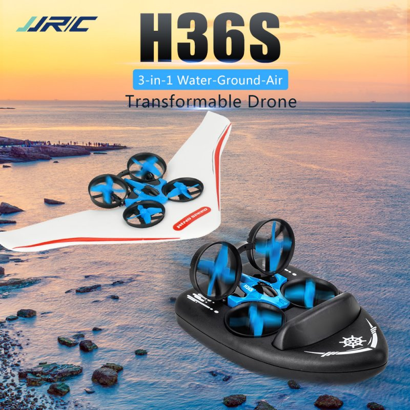 jjrc H36S RC Terzetto Drone Boat Car Gliding Water Ground Air 4-Mode 2.4G 4CH 360° Roll Function Speed Switching RC Drone Toy 2 battery