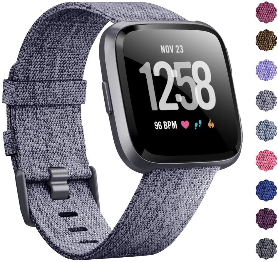 Woven Watch Band Compatible with Fitbit Versa/Fitbit Versa 2/Fitbit Versa Lite Edition Breathable Fabric Strap for Men Women Smartwatch Silver grey