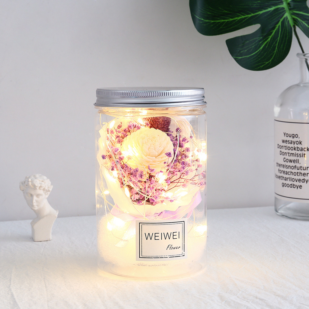 Eternal Flower Light Little Night Lamp Jar Dried Gypsophila Romantic Valentine's Day Gifts Home Desk Decoration Christmas Birthday Present Purple