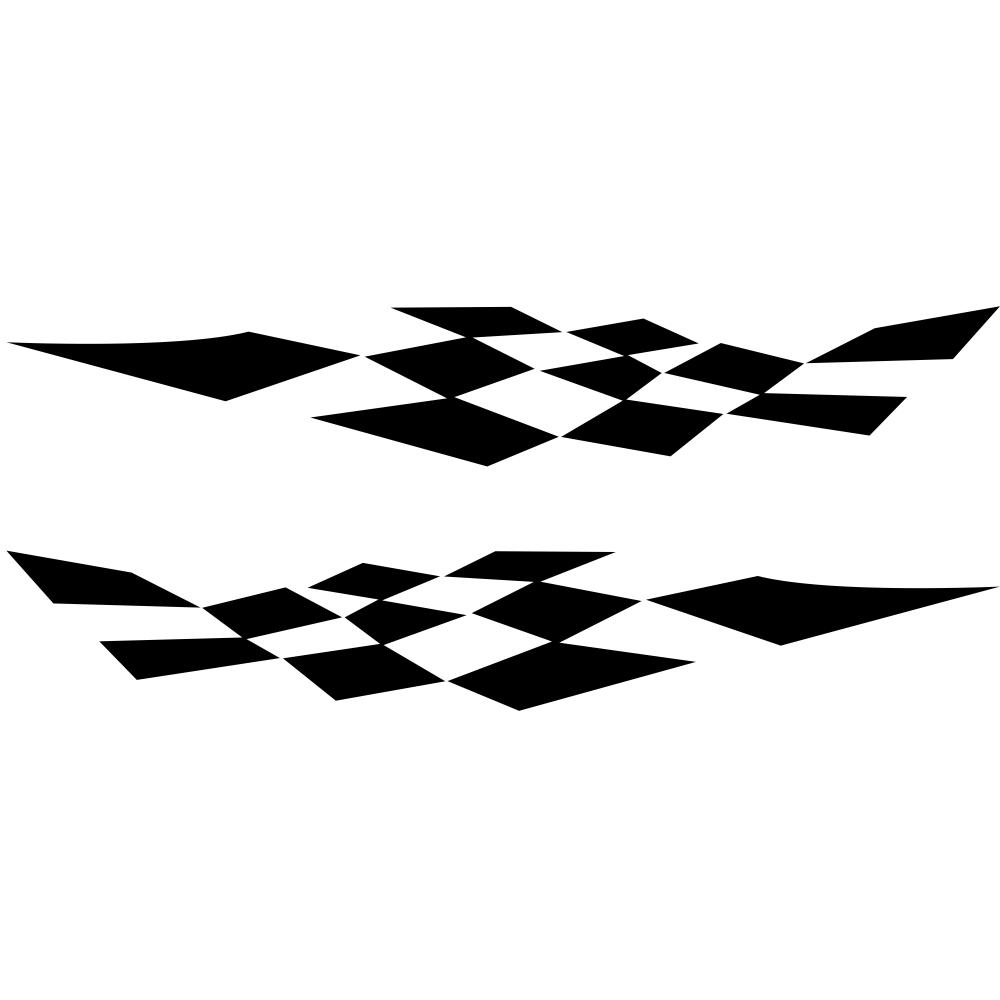 1 Pair Car Stickers Racing Sports Stripe Grid Totem Auto Side Body Decals Car Sticker black