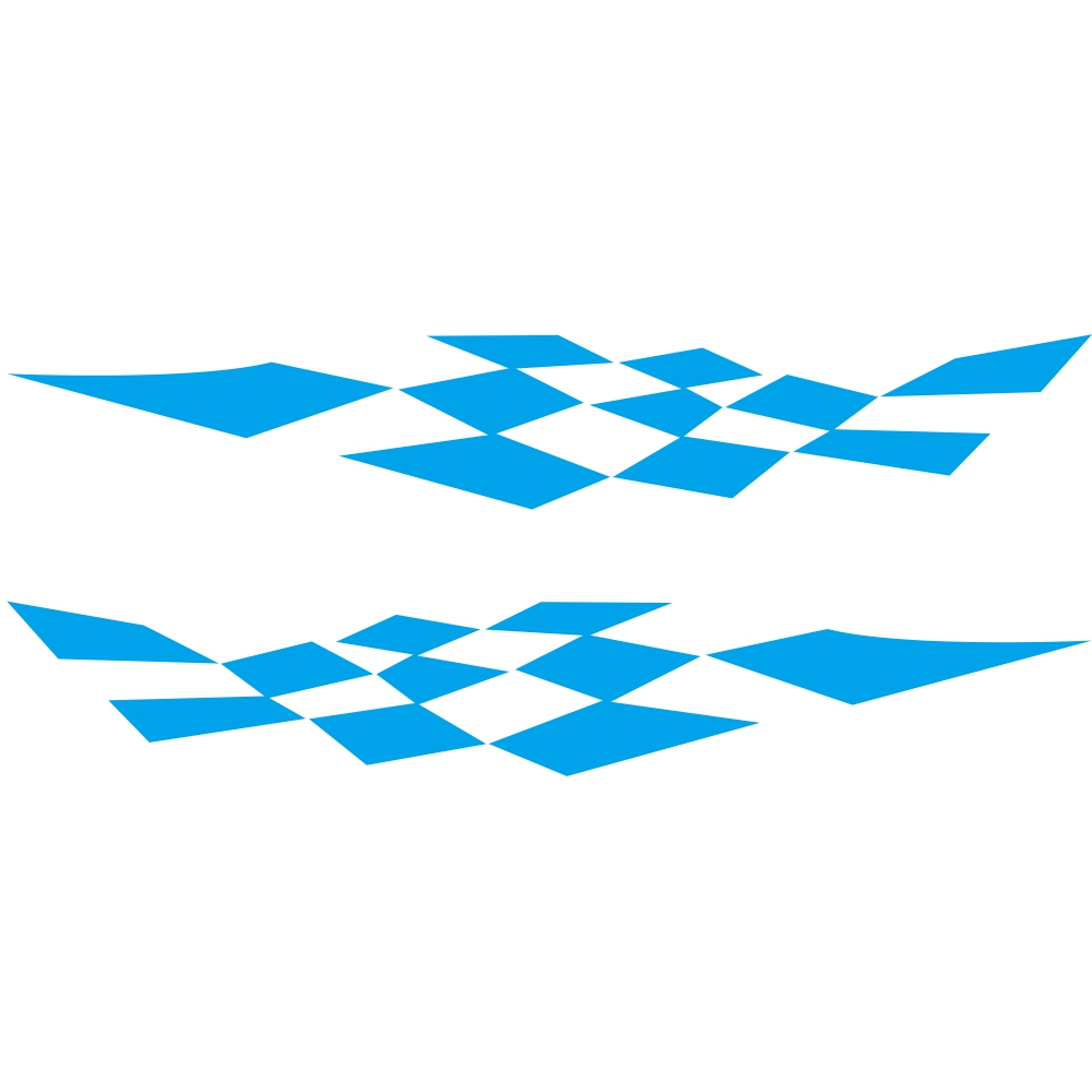1 Pair Car Stickers Racing Sports Stripe Grid Totem Auto Side Body Decals Car Sticker blue