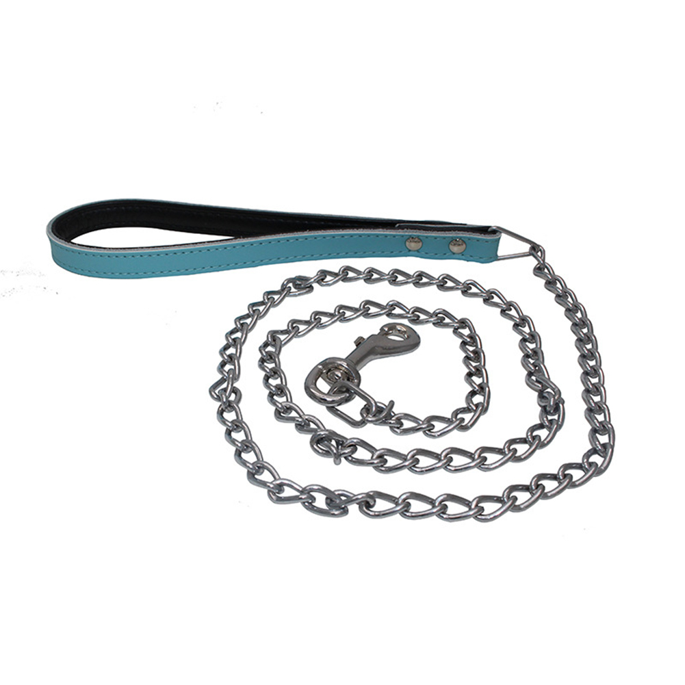 Comfortable Leather Handle Iron Chain Pet Traction Rope Anti-Bite Dog Chain blue_thin long