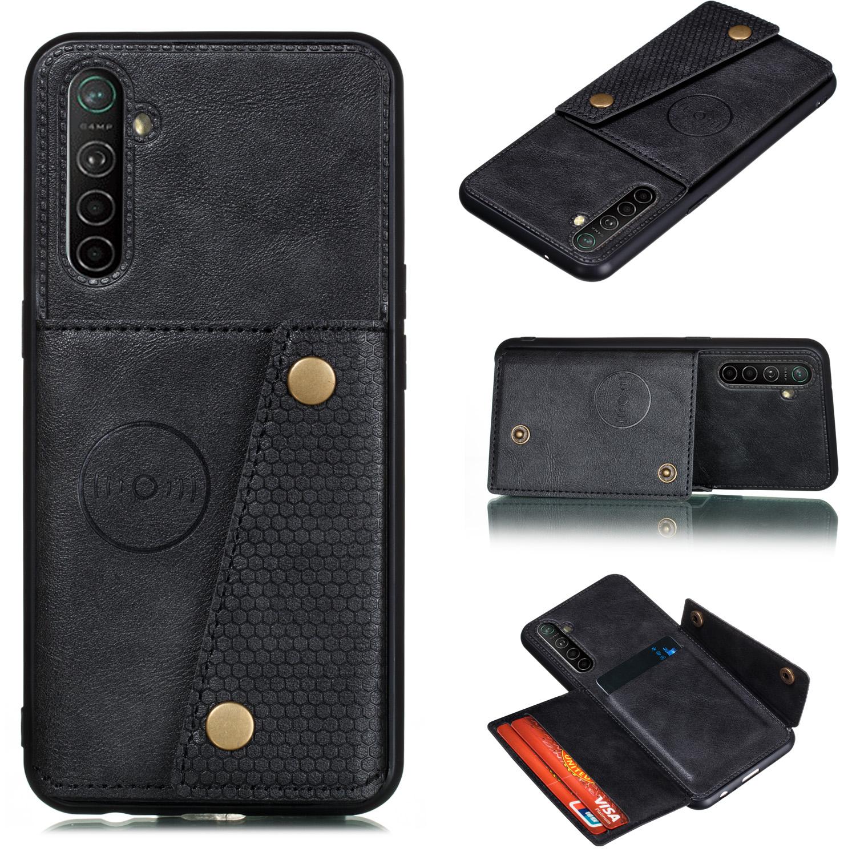 For OPPO A9 2020/Realme XT/Reno 2 Mobile Phone Shell Classic Textured Pattern Buckle Closure Design Anti-fall Smartphone Case  black