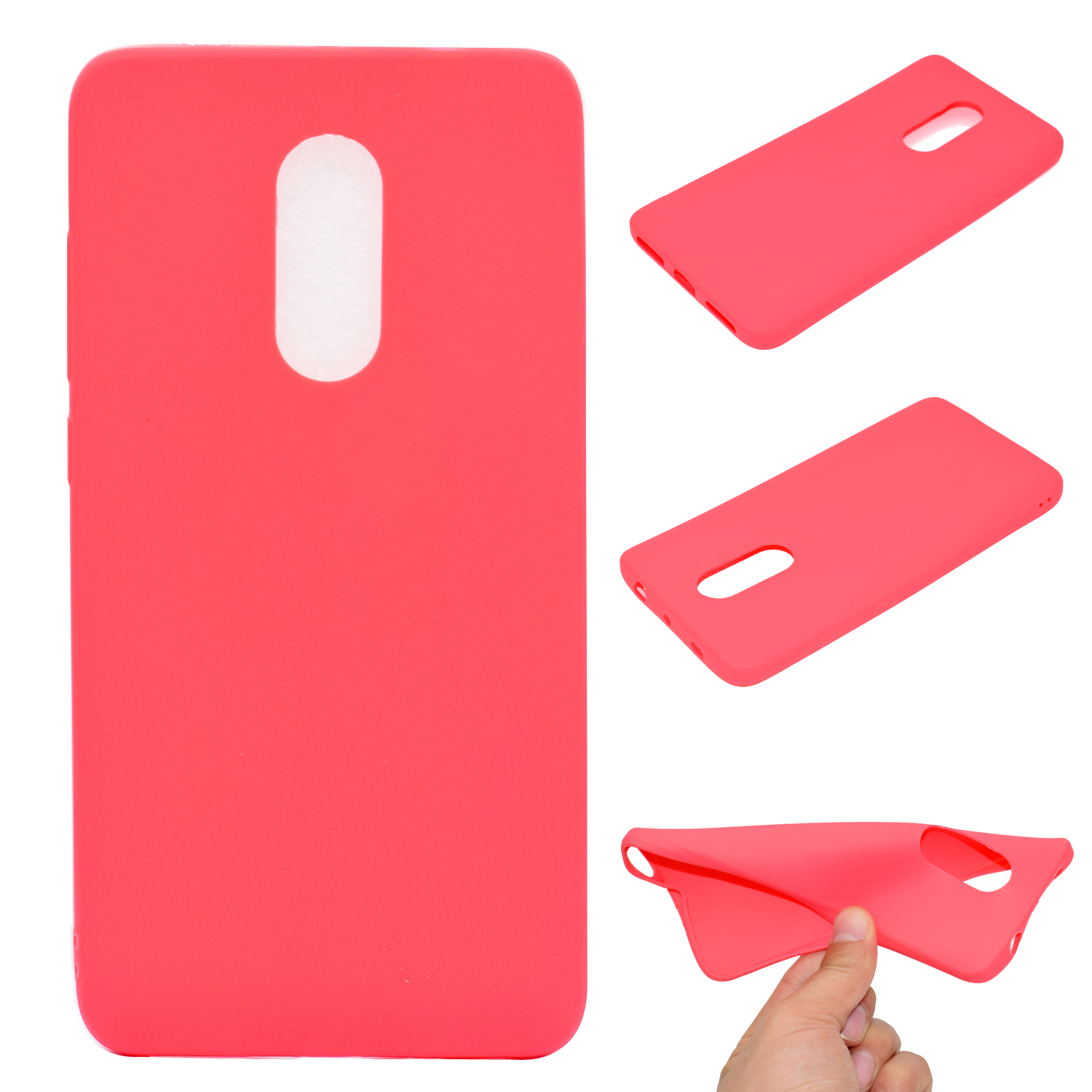 for XIAOMI Redmi NOTE 4X/NOTE 4 Lovely Candy Color Matte TPU Anti-scratch Non-slip Protective Cover Back Case red