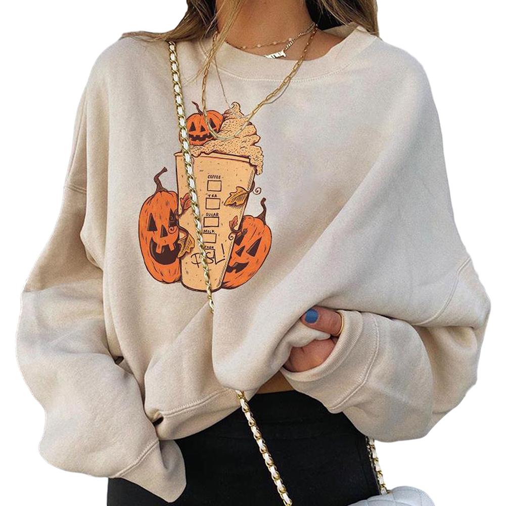 Women's Sweatshirt  Autumn and Winter Printing Loose Crew-neck Long-sleeve Sweatshirt Khaki_M