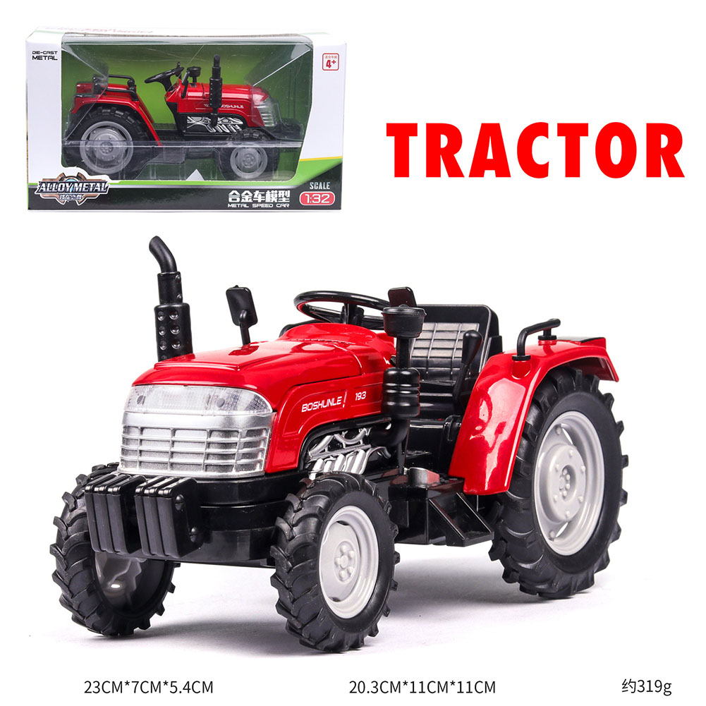 1:32 Mini Simulation Alloy Tractor Shape Model Farmer Car Toy with Light Sound red