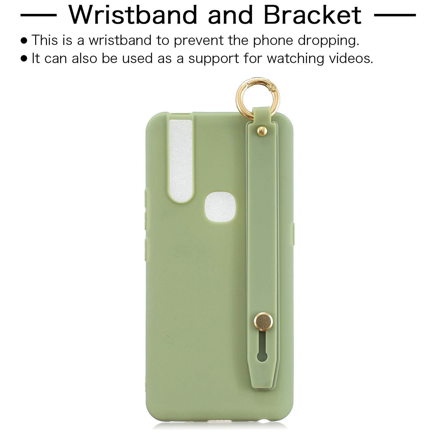 For VIVO V15 Simple Solid Color Chic Wrist Rope Bracket Matte TPU Anti-scratch Non-slip Protective Cover Back Case 10 beans green