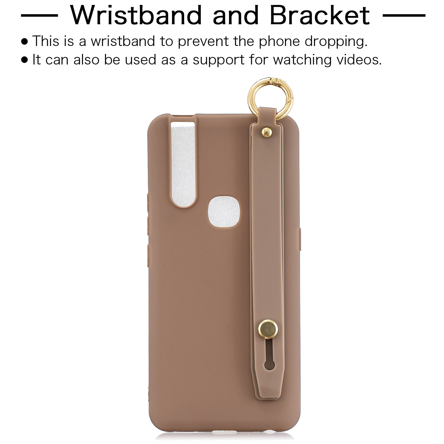 For VIVO V15 Simple Solid Color Chic Wrist Rope Bracket Matte TPU Anti-scratch Non-slip Protective Cover Back Case 9 coffee