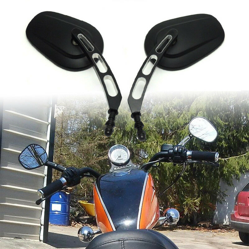 Motorcycle Rearview Mirrors Black Edge Cut RearView Side Mirrors For Sportster Softail Touring Dyna black